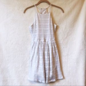 Hollister White Halter Patterned Mini Dress